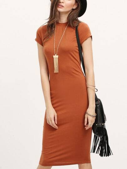 Camel Crew Neck Bodycon Dress