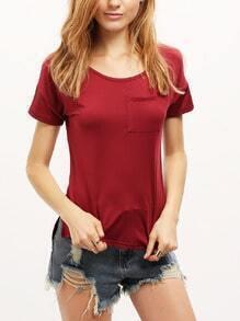 Red Short Sleeve Pocket Loose T-Shirt