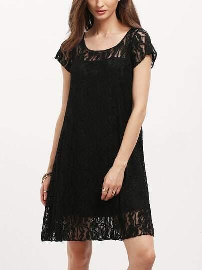 Black Cap Sleeve Sheer Lace Yoke Shift Dress