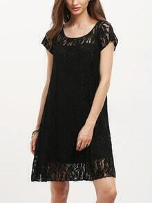 Black Cap Sleeve Sheer Lace Yoke Shift Dress