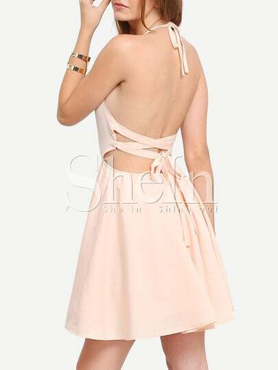 Apricot Halter Neck Tie Back Flare Dress