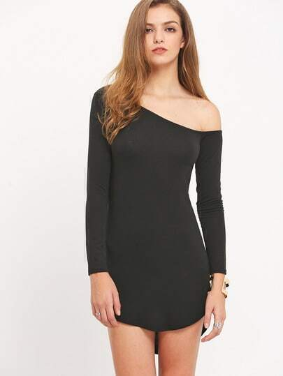 Black One-shoulder Long Sleeve Asymetric Slim Dress