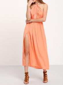 Orange Sun Beach Convertible Halter Backless Hollow Split Dress