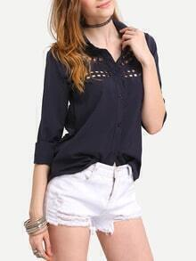 Black Open Back Hollow Out Blouse