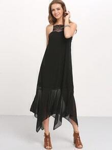 Black Spaghettic Strap Tassel Tie Back Maxi Dress