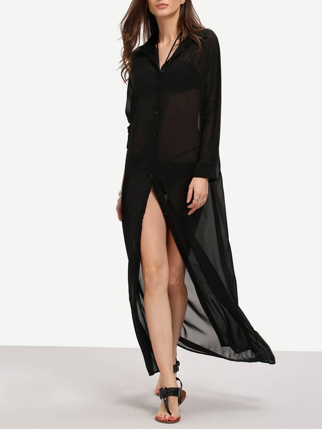 Black Chiffon Maxi Shirt Dress -SheIn(Sheinside)
