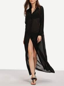Black Chiffon Maxi Shirt Dress