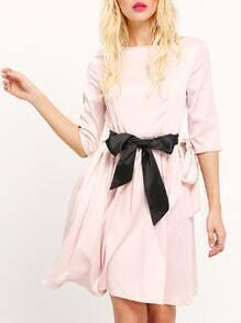 Pink Boat Neck Belted Dress