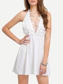 Deep-V Halter Petal Applique Dress