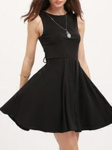 Black Lace-up Back Sleeveless Shift Dress