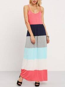 Multicolor Patchwork Spaghetti Strap Maxi Dress