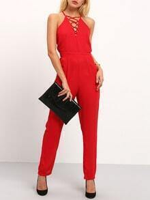 Red Spaghetti Strap Back Lace Up Front Jumpsuit