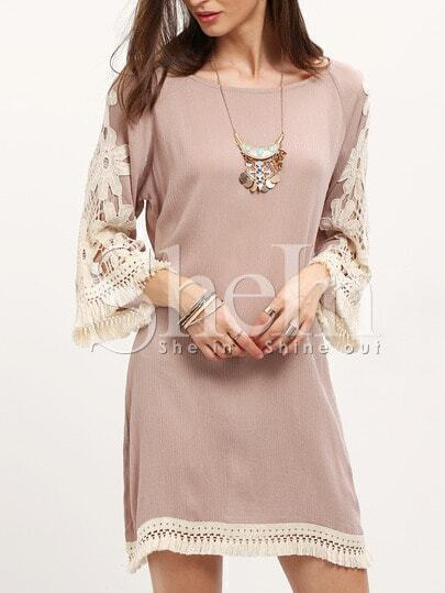 Apricot Cotrast Lace Embroidered Sleeve Dress