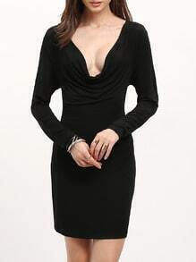 Black Long Sleeve V Neck Bodycon Dress