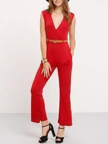 Red Deep V Neck Sleeveless Loose Jumpsuit