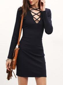 Navy Long Sleeve Deep V Neck Dress