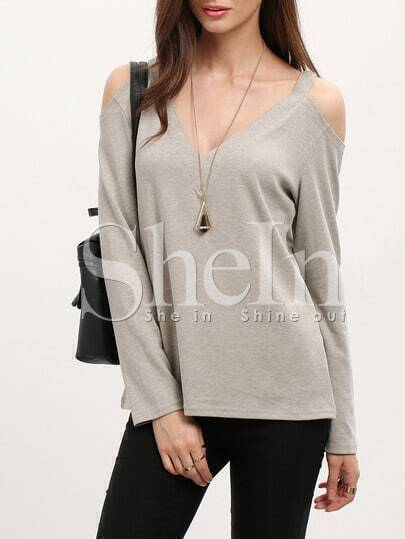 Grey Cold Shoulder T-Shirt