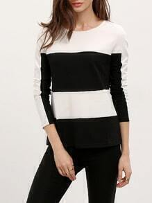 Black White Long Sleeve Color Block T-Shirt