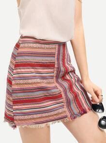 Red Tribal Print Fringe Bodycon Skirt