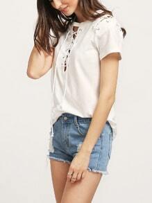 Beige Short Sleeve Lace Up T-shirt
