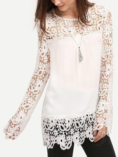 White Round Neck Floral Crochet Lace Blouse