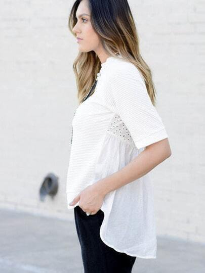 Beige Round Neck Hollow Back Ruffle Blouse