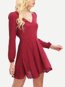 Wine Red Long Sleeve V Neck Pleated Dress