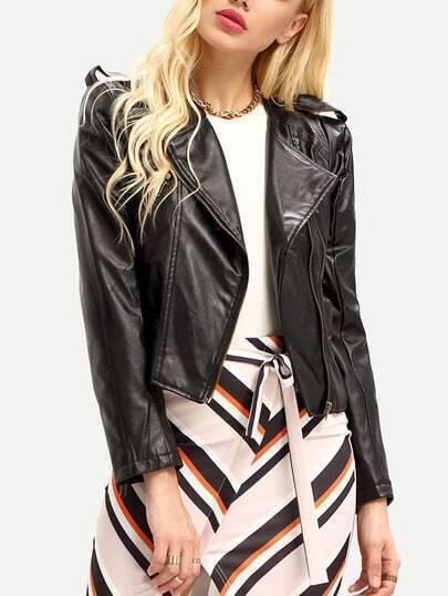 Women Black PU Leather Lapel Moto Jacket