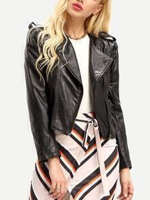 Women Black PU Leather Lapel Moto Jacket