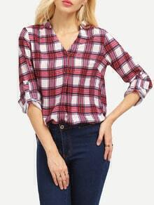 Red Long Sleeve Plaid High Low Blouse