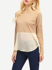 Khaki Apricot Long Sleeve High Low T-Shirt