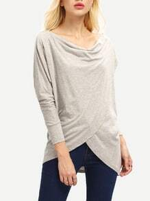 Grey Draped Front Loose T-Shirt