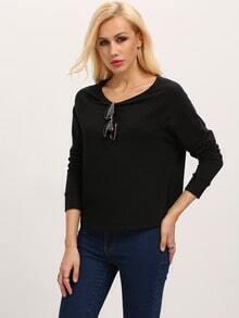 Black Long Sleeve Hollow Cross Sweatshirt