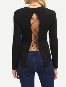 Black Long Sleeve Lace Up Sweater