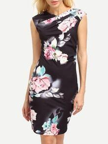 Black V-neck Flower Print Sheath Dress