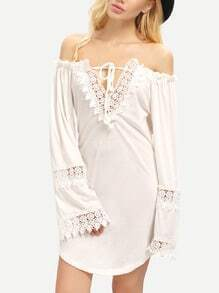 White Long Sleeve Lace Backless Loose Dress