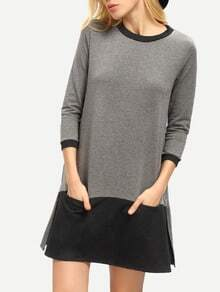 Grey Round Neck Color Block Dress