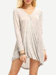 Grey Surplice Long Sleeve V Neck Dress
