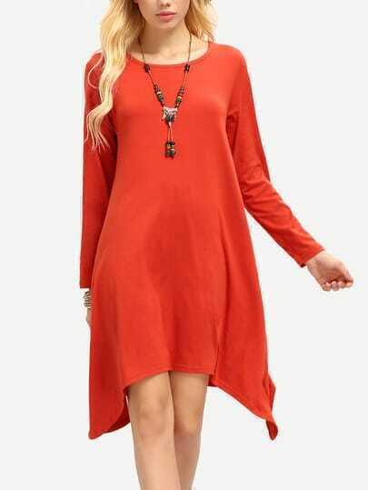 Rust Long Sleeve High Low Plus Size Dress