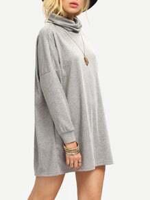 Grey Turtleneck T-shirt Dress