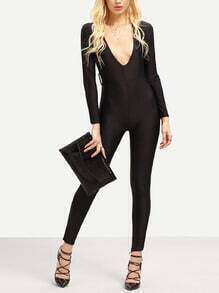 Black Deep V Neck Skinny Jumpsuit