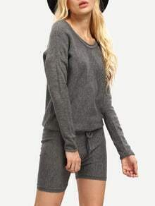Grey Long Sleeve Lace Up Playsuit