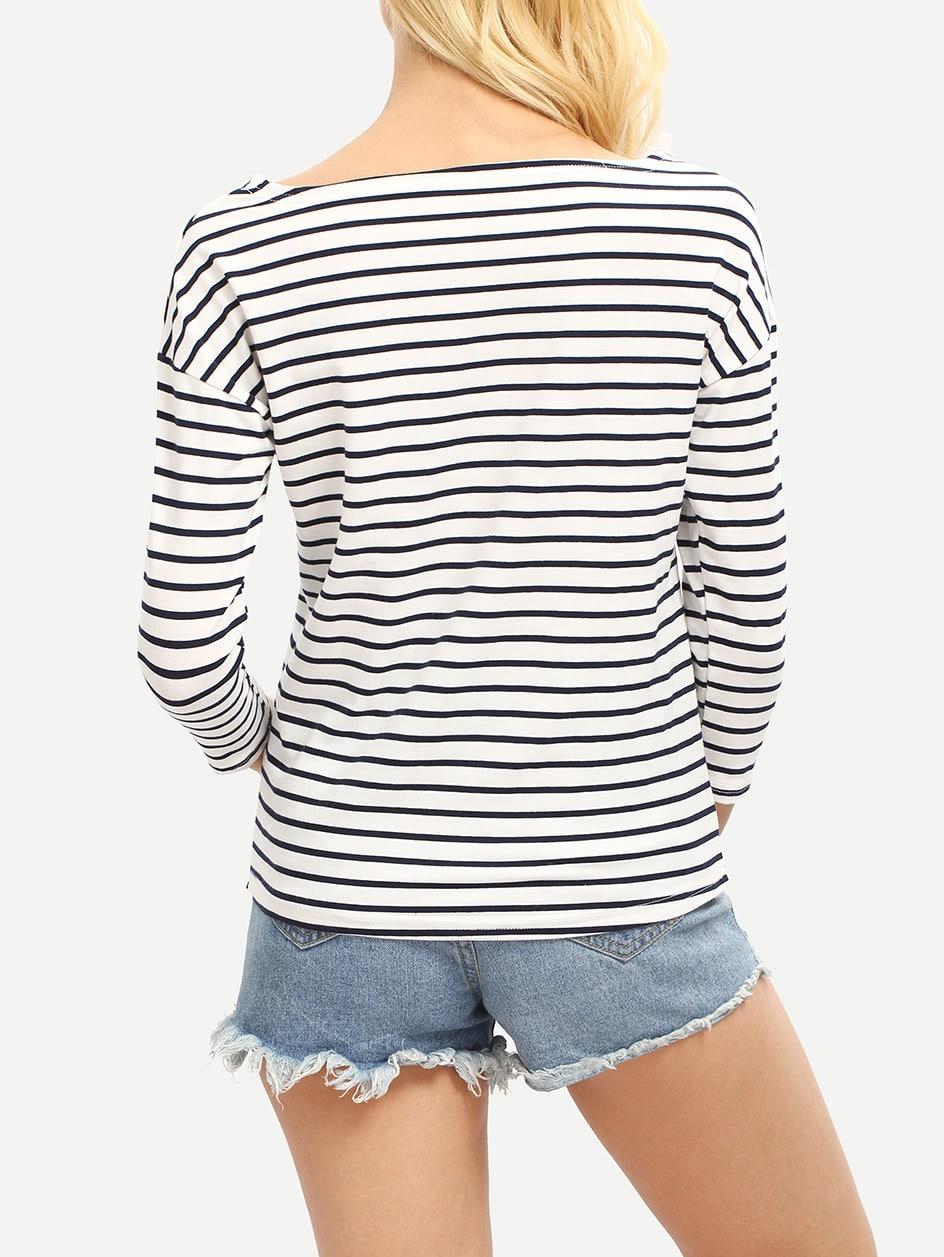 Blue White Stripe Scoop Neck T-shirt