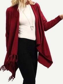 Wine Red Open Front Hanky Hem Fringe Sweater
