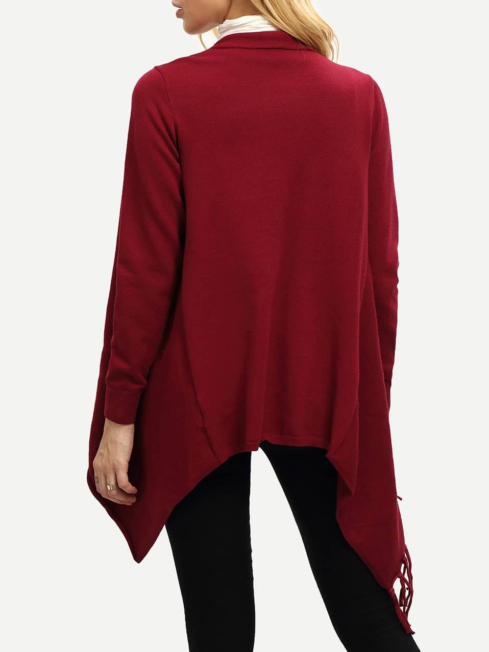 Wine Red Open Front Hanky Hem Fringe Sweater -SheIn(Sheinside)