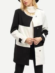 Mantel Langarm mit Color-Blocking-weiß und schwarz