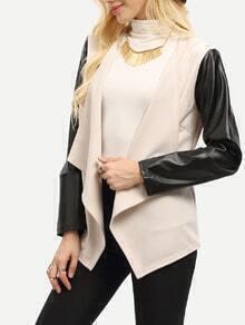 Beige Contrast Sleeve Drape Front Blazer
