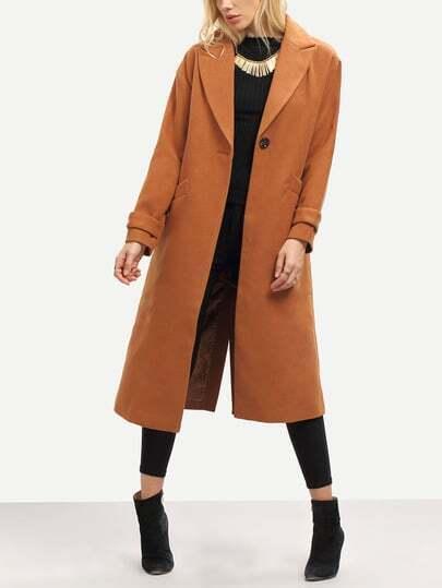 Manteau manches longues col à revers avec poches -taupe
