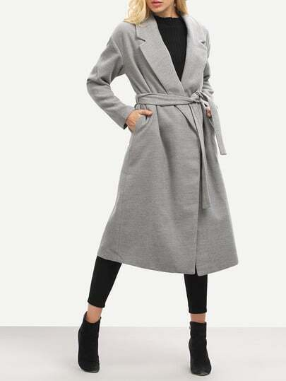 Grey Lapel Split Coat