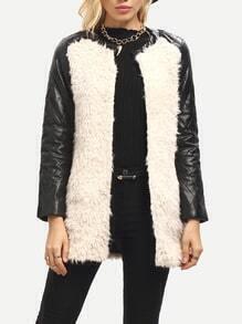 Pink Black Long Sleeve Color Blck Faux Fur Coato
